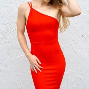 Red One-Shoulder New Years Dress- NEW